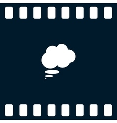 Flat paper cut style icon of thought cloud vector