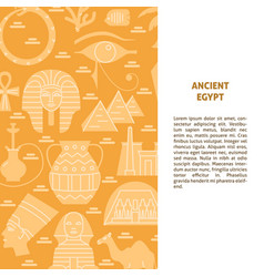 Flat style background with egypt symbols and place vector
