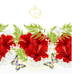Floral border seamless background red hibiscus vector