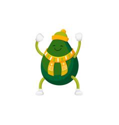 Funny cartoon avocado character in winter clothes vector