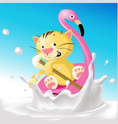 funny cat on flamingo boat in milk splash - funny vector image