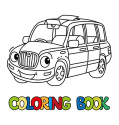 Funny small taxi car or london cab coloring book vector