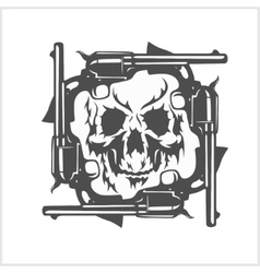 Gangster skull and frame of pistols vector