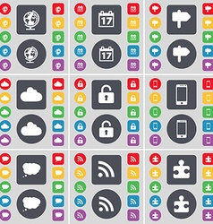 Globe Calendar Signpost Cloud Lock Smartphone Chat vector image