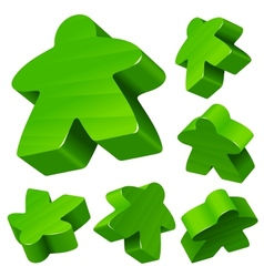 Green wooden Meeple set vector
