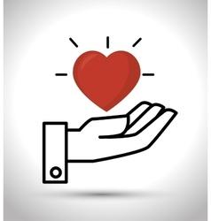Hand hold heart design vector
