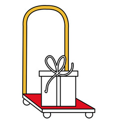 Handle cart with gift delivery service vector