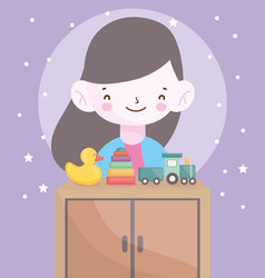 happy little girl furniture with duck train toys vector image