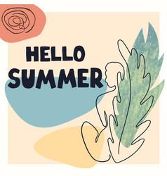 hello summer - fun hand drawn poster vector image
