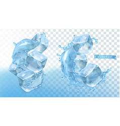 ice cubes and water splash 3d realistic vector image