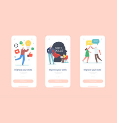 Improve your skills mobile app page onboard screen vector