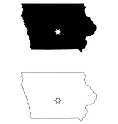 iowa ia state map usa with capital city star at vector image