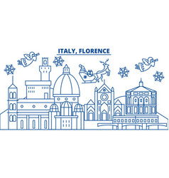 italy florence winter city skyline merry vector image