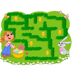 Kids game Easter maze vector image