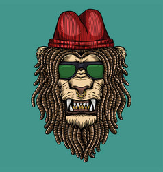 lion dreadlocks head vector image