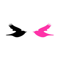 logo with dove in pink and black colors vector image
