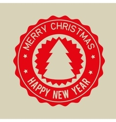 Merry christmas happy new year red badge vector