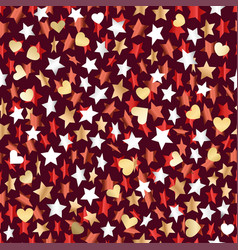 metallic stars and hearts seamless background vector image