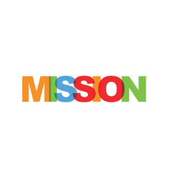 mission business card text modern lettering vector image