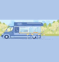 mobile road cafe or restaurant on wheels truck vector image