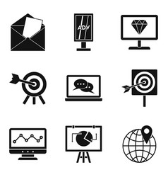 Mobile working icons set simple style vector