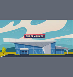 Modern supermarket building vector