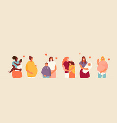 Mothers with children and pregnant women vector
