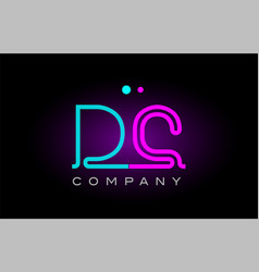 Neon lights alphabet dc d c letter logo icon vector