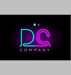 Neon lights alphabet dc d c letter logo icon vector