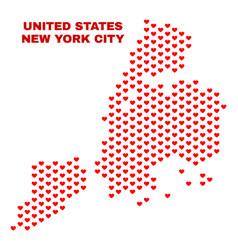 new york city map - mosaic of love hearts vector image