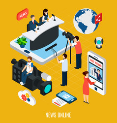 news streaming isometric composition vector image