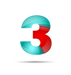 Number three 3 colorful 3d volume icon design for vector image