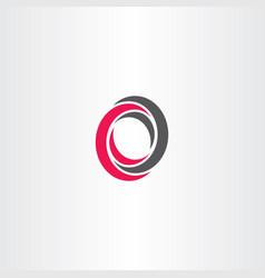 o letter black red logo icon sign element vector image