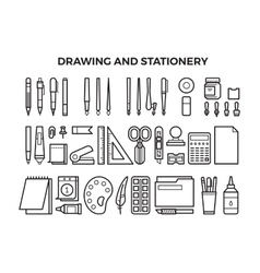 Office stationery and drawing tools line icons vector image