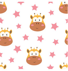 Pattern with heads giraffe on white background vector