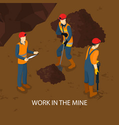 people in mine isometric template vector image