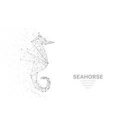 Polygonal wireframe mesh futuristic with seahorse vector