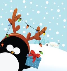 Reindeer Costumed Penguin With Gift vector