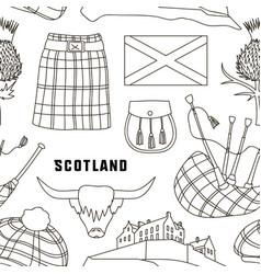 Scotland country set icons pattern vector