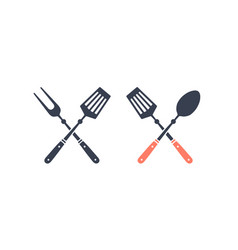 set grill tools silhouette two bbq tools vector image