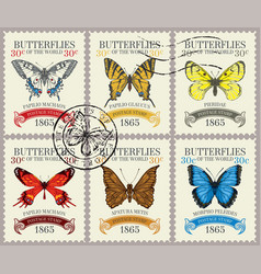 Set retro postage stamps with butterflies vector