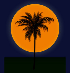 Silhouette of palm trees against the sun vector