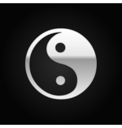 Silver Yin Yang symbol icon on black background vector