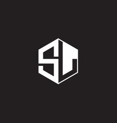 Sl logo monogram hexagon with black background vector