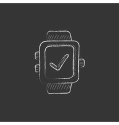Smartwatch with check sign Drawn in chalk icon vector
