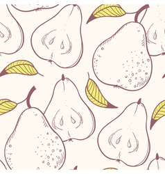 Stylized yellow pear seamless pattern vector image