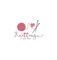 Tailor sewing knitting vintage needle yarn logo vector