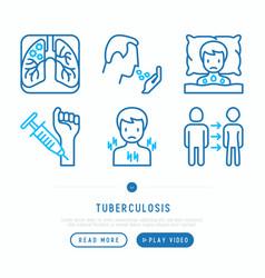 Tuberculosis thin line icons set vector