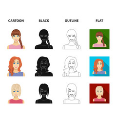 Types of female hairstyles cartoonblackoutline vector