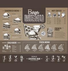 Vintage burger menu design on cardboard fast food vector
